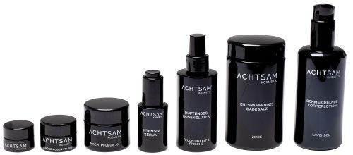 ACHTSAM Produkte in den Violettgläsern